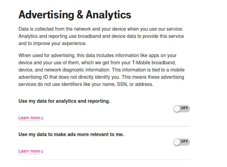 Advertising and Analytics screenshot